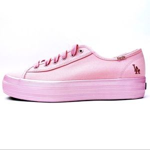 🆕 KEDS LA Dodgers MLB Pink Platform Sneakers Shoe